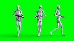 Extranjero que camina con el arma Shaders realistas del movimiento y de la piel cantidad de la pantalla del verde 4K stock de ilustración