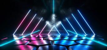 Extranjero retro del laser Sci Fi de Sci Fi del hexágono del piso de Hall Studio Room Stage Glowing de la púrpura de la demostrac libre illustration
