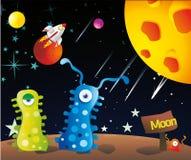 Extranjeros en la luna   stock de ilustración