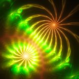 Extraordinarily beautiful dandelion. Fiery rain. Colorful fireworks. 3D surreal illustration. Sacred geometry.Mysterious relaxation pattern.Fractal abstract Stock Images