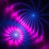 Extraordinarily beautiful dandelion. Fiery rain. Colorful fireworks. 3D surreal illustration. Sacred geometry.Mysterious relaxation pattern.Fractal abstract Royalty Free Stock Photo