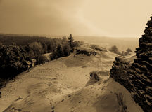Extraordinary beauty of the winter landscape on top of a hill retro Stock Photos