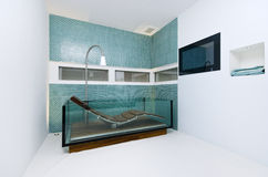 Extraordinary designer bathroom with glass bathtub. Turqouise blue mosaic tiles and reading deck chair Royalty Free Stock Photography