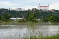 Extraordinary flood, on Danube in Bratislava Royalty Free Stock Image
