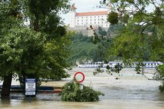 Extraordinary flood, on Danube in Bratislava Stock Photos