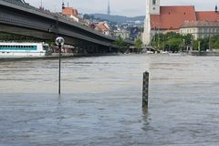 Extraordinary flood, on Danube in Bratislava Stock Images