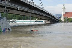 Extraordinary flood, on Danube in Bratislava Royalty Free Stock Photography