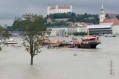Extraordinary flood, on Danube river in Bratislava Royalty Free Stock Image