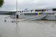 Extraordinary flood, on Danube river in Bratislava Stock Photography