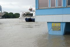 Extraordinary flood, on Danube river in Bratislava Royalty Free Stock Photo