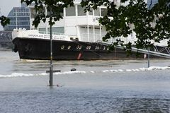 Extraordinary flood, on Danube river in Bratislava Stock Photos
