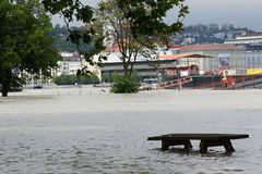 Extraordinary flood, on Danube river in Bratislava Royalty Free Stock Images