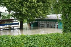Extraordinary flood, on Danube river in Bratislava Royalty Free Stock Photography