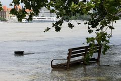 Extraordinary flood, on Danube river in Bratislava,Slovakia Royalty Free Stock Photos