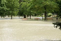 Extraordinary flood, on Danube river in Bratislava, Slovakia Royalty Free Stock Photography