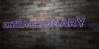 EXTRAORDINARY - Glowing Neon Sign on stonework wall - 3D rendered royalty free stock illustration. Can be used for online banner ads and direct mailers Royalty Free Stock Images