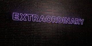EXTRAORDINARY -Realistic Neon Sign on Brick Wall background - 3D rendered royalty free stock image. Can be used for online banner ads and direct mailers Royalty Free Stock Photo
