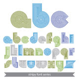 Extraordinary round striped font. Vector lowercase Royalty Free Stock Photos