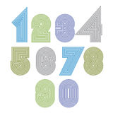 Extraordinary round striped numbers. Vector digits Stock Images