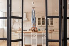 Extraordinary sportive girl pulling out her legs and touching ceiling royalty free stock photo
