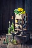 Extraordinary virgin oil machine in old basement Stock Photo