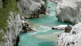 Extraordinary water stream on Soca river in Europe stock footage