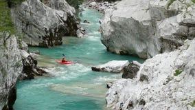 Extraordinary water stream on Soca river in Europe stock video