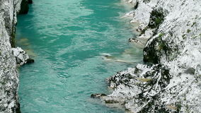 Extraordinary water stream on Soca river in Europe stock video footage