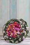 Extraordinary wedding bouquet with peonies and hyacinth flowers. Copy space Stock Image