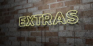 EXTRAS - Glowing Neon Sign on stonework wall - 3D rendered royalty free stock illustration. Can be used for online banner ads and direct mailers royalty free illustration