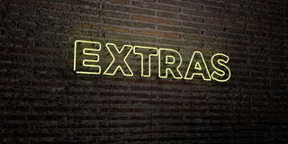 EXTRAS -Realistic Neon Sign on Brick Wall background - 3D rendered royalty free stock image Royalty Free Stock Photography