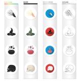 Extrasensorial, la naturaleza, el fenómeno y el otro icono del web en diverso estilo restos, excavaciones, antigüedad, iconos en  libre illustration