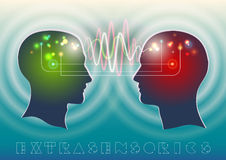Extrasensorics. Profile of human head with a beautiful symbol of the psychic and mental waves in the brain as a means of communication Stock Images