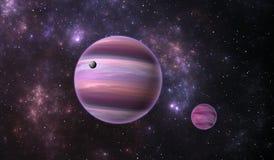Extrasolar planet. Gas extrasolar planet with moon on background nebula Royalty Free Stock Photography