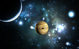 Extrasolar planet. Gas giant with moons. Stock Photos
