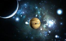 Extrasolar Planet Gasriese mit Monden Stockfotos