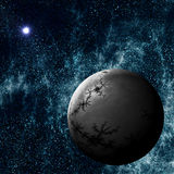Extrasolar Planet. Imaginary Extrasolar Planet with Starfield Background Royalty Free Stock Images