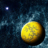 Extrasolar Planet. Imaginary Extrasolar Planet with Starfield Background Stock Photos