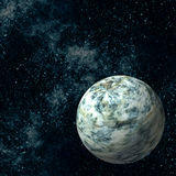 Extrasolar Planet. Imaginary Extrasolar Planet with Starfield Background Stock Photography