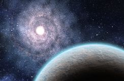 Extrasolar Planet and Large Spiral Galaxy. 3D Rendered Digital Illustration Royalty Free Stock Photos
