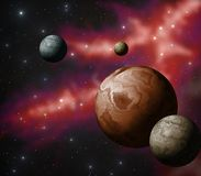 Extrasolar planet system. Illustration of an extrasolar system Royalty Free Stock Photography