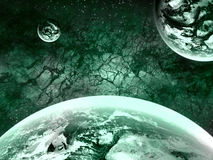 Extrasolar Planets. Imaginary Extrasolar Planets with Starfield Background Royalty Free Stock Images