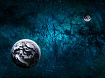 Extrasolar Alien Planets. Imaginary Extrasolar Alien Planets with Starfield Background Stock Photo
