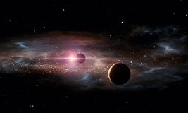 Extrasolar planets. Outer space. 3D illustration stock illustration