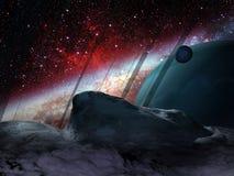 Extrasolarplaneet en satellieten Royalty-vrije Stock Foto