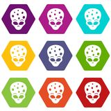 Extraterrestrial alien head icon set color hexahedron. Extraterrestrial alien head icon set many color hexahedron isolated on white vector illustration Stock Photo