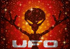 Extraterrestrial alien on a red background. Extraterrestrial alien on a red starry background stock illustration