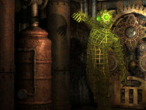 Extraterrestrial beings in the engine room. 3D Rendering extraterrestrial beings in the engine room stock illustration
