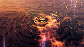 Extraterrestrial City. Alien type of futuristic stylized labyrinth shaped extraterrestrial city view from high altitude with golden reflection, plasma lights and Royalty Free Stock Image