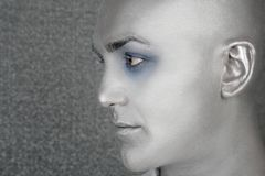 Extraterrestrial estrangeiro de prata do retrato do perfil do homem Foto de Stock